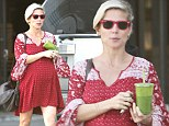 Running errands: Heavily pregnant Elsa Pataky stocked up on healthy groceries at Pacific Coast Greens, a natural gourmet market, in Malibu on Sunday