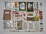 The British ration pack contains a host of familiar items including Typhoo tea and a tiny bottle of Tabasco sauce as well as favourites such as chicken tikka masala, vegetarian pasta, jam-filled biscuits and boiled sweets