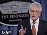 FILE - In this Feb. 7, 2014 file photo, Defense Secretary Chuck Hagel speaks during a briefing at the Pentagon.   A U.S. official says that as part of the pr...