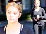 The Pretty Little Liars star wore minimal make-up and had her newly lightened hair pulled into a ponytail after a workout session in Los Angeles.