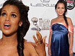 Nothing to be blue about! Kerry Washington accentuates her baby bump in navy gown as she wins NAACP Image Award for outstanding actress for Scandal