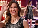 No wonder she got such a warm welcome! Hilary Swank wows her German fans in sexy LBD during television appearance with Pharrell