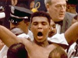 Muhammad Ali, or Cassius Clay at the time, strikes a familiar pose as he shouts 'I am the greatest,' as he leaves the ring, arms raised, following his defeat of former heavyweight boxing champion Sonny Liston in Miami Beach, Fla., February 25, 1964