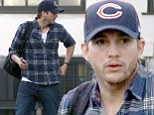 Well plaid! Ashton Kutcher looks dashing in tartan shirt as he heads home after hard day at work