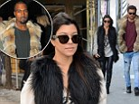 Kourtney Kardashian rocks a furry vest and leather trousers while Scott Disick steals Kanye West's look in $3,567 fur jacket
