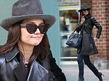 Better! Katie Holmes looked lovely in leather as she grabbed some lunch at Tribeca Grill in New York City on Monday, left, after having a flop about week ago in leather joggers, right
