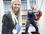 Looks painful! Tara Reid sports severed hand and arm in a sling ... as Ian Ziering wields a chainsaw on set of Sharknado 2