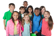 Casual diverse group of elementary school students with backpack