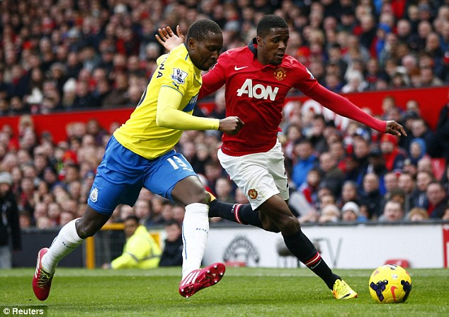 Loan ranger: Wilfried Zaha (right) looks set to leave Manchester United temporarily in January