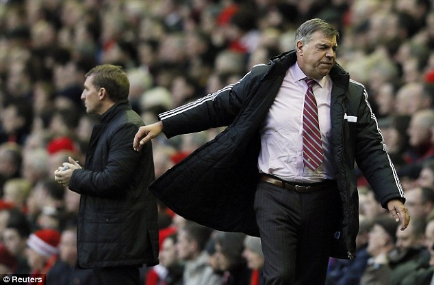Tough times: West Ham boss Sam Allardyce is under pressure after some poor results in recent weeks