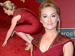 Good catch: Elisabeth Rohm took a tumble on Saturday on the red carpet at a pre-Oscars event in Los Angeles but managed to catch herself