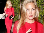Ensuring all eyes are on her! Kate Hudson looks sensational in slinky red jumpsuit as she leaves celebrity hotspot