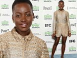Going for gold! Lupita Nyong'o shines in metallic playsuit at Independent Spirit Awards... with mother Dorothy as her date again