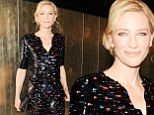 An Italian affair! Cate Blanchett dazzles in shiny black gown at Giorgio Armani's swanky pre-Oscars party