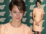 Looking just peachy! Shailene Woodley shows off her slim legs in a pretty frock at the Publicist Awards Luncheon