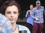 Make-up free Britney Spears rocks 'Sleep in Late' jumper for lunch at Freebirds World Burrito with boyfriend David Lucado