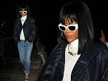 No longer Rated R: Rihanna reveals demure dinner-date outfit just hours after daring stockings and suspenders fashion faux-pas