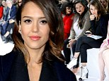 Dressed to thrill! Jessica Alba looks razor sharp in a plunging power suit and spats at Dior Show for Paris Fashion Week