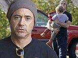 Daddy's little superhero! Robert Downey Jr. was seen leaving Toy Crazy in Malibu in Los Angeles on Thursday with his youngest son, two-year-old Exton Elias, with a set of Justice League figurines