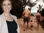 Too sexy? Pregnant Kristin Cavallari shows off her fit derriere in racy bathing suit as she hits the beach with her family