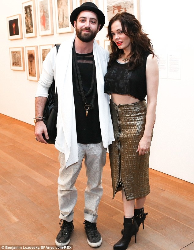 Newlyweds: Rose wed artist Davey Detail in October; the couple is pictured attending the Pamm opening party at Perez Art Museum in Miami on Wednesday