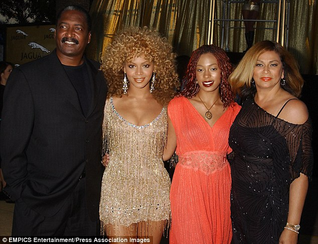 Before the split: Mathew with his superstar daughter (he used to be her manager, too) her sister Solange and his former wife of 31 years, Tina