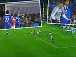 Goalkeeper Luis Delgado scores a 30-yard free-kick