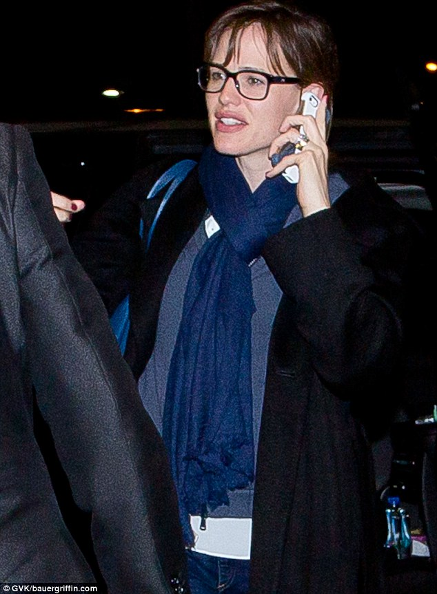 Jetting out: Jennifer Garner, 41, was seen making her way into LAX on Monday night