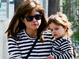 The Blair family uniform: Selma and her two-year-old son Arthur both wore striped tops for an outing in Studio City, Los Angeles this week