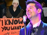 Robin Thicke concert in Boston is protested by university students angry at his 'misogynistic' lyrics