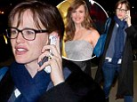 Why so blue? Jennifer Garner gets ready to jet out from LAX in a casual outfit a day after stunning at the Oscars in a tasselled shimmering dress