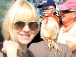 Family outing: Anna Faris enjoyed a family shopping trip on Tuesday with her young son Jack and her parents Karen and Jack