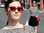 Red-y for the day! Emmy Rossum made a splash with her bright crimson pieces as she grabbed a late breakfast in Beverly Hills, California on Tuesday