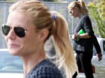 Keeping it low-key: On Tuesday, Gwyneth Paltrow blended into the masses in very casual garb as she ran errands in Brentwood in Los Angeles