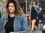 Girl on the run! Kylie Jenner admits she's 'trying to be cool' in her LBD and denim jacket as she makes a dash to her SUV while out with friends