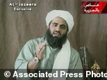 FILE - This image made from video provided by by Al-Jazeera shows Sulaiman Abu Ghaith, Osama bin Laden's son-in-law and spokesman. Abu Ghaith goes to trial M...