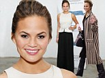Chrissy Teigen swamps her petite frame in wide-legged trousers at fashion event in NYC... before making a quick change and dashing to JFK to catch a flight