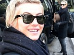Out and about: Julianne Hough was spotted checking out of her New York City hotel and climbing into a large black vehicle, dressed very stylishly to brave the winter chill