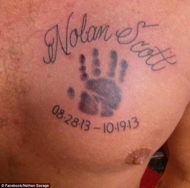 Tribute to his son: Savage told police it was not the first time the boy had slept in bed with his parents, and prosecutors say the case is an example of why parents should avoid sleeping with newborns. He now has a tattoo on his chest to remember his short life