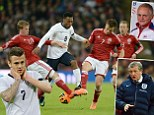 Target man: Daniel Sturridge tries to break a wall of Danes at Wembley as he strives to score a second