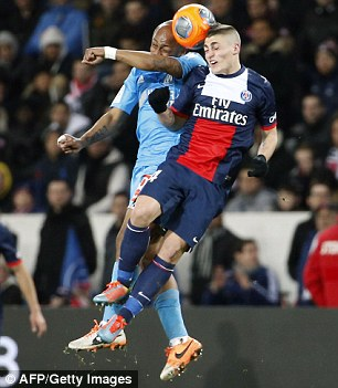 Favourite: PSG midfielder Marco Verratti (R) has already proven he's up to international level for Italy