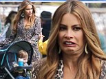 Making faces: Sofia Vergara was quite expressive on the set of Modern Family in Los Angeles on Tuesday