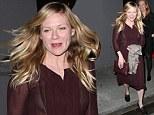 Sheer daring! Kirsten Dunst flashes her black bra in deceptively demure purple dress on dinner date