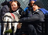 It's a dog's life: Olivia chatted with actor Justin Long and their dogs in Washington Square Dog Park