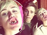 My, what big teeth you have! Miley Cyrus tweets snap of herself and Olympic skier Gus Kenworthy displaying grotesque toothy smiles