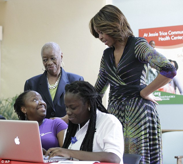 Chameleon: The First Lady debuted the new look on Wednesday at the Jessie Trice Community Health Care Center in Miami, where she talked to Affordable Care Act enrollees about how to get insurance