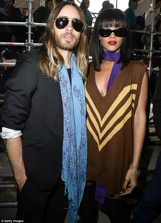 Oscar portraits: Rihanna later had her picture taken with Jared Leto