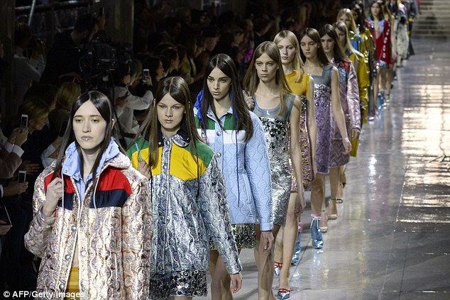 A model stride: The catwalk show in front of thye star-studded crowd to present the 2014/2015 Autumn/Winter collection