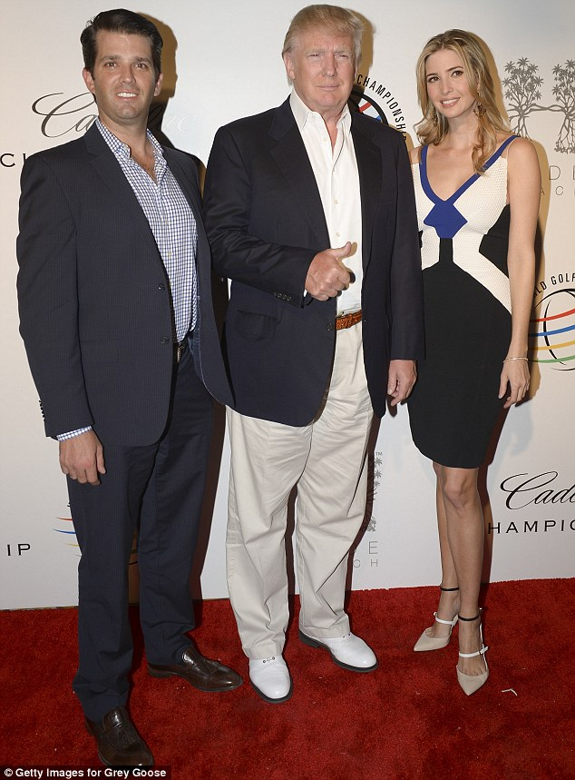 Family ties: On Tuesday, she showed off her lean figure and toned arms in another sleeveless dress for the Opening Drive party for the Cadillac Championship with her brother Donald, Jr (left) and father Donald (middle)