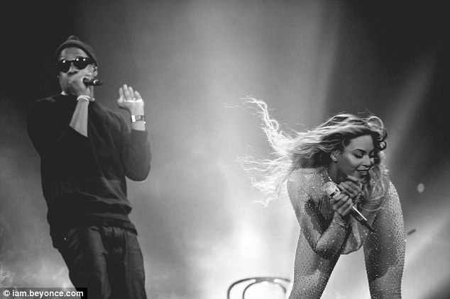 Swaying to the beat: Jay Z and Bey looked to be caught up in the moment